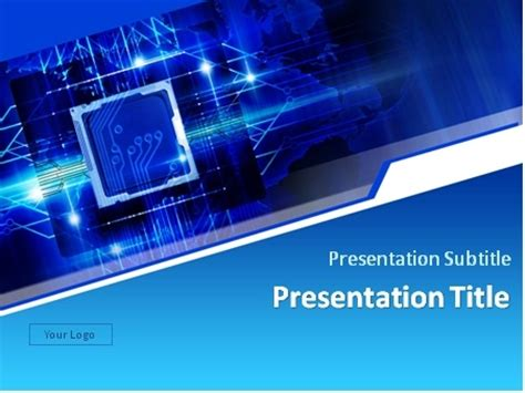 free ppt templates for electronics download microchip over blue background powerpoint template