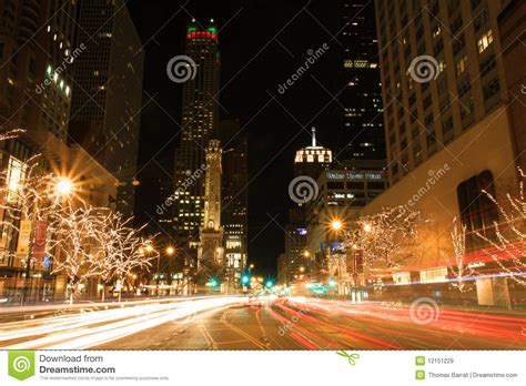 holiday lights on michigan avenue editorial photo