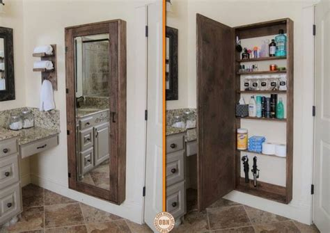 Bathroom Mirror With Hidden Storage | diy secret bathroom storage unit