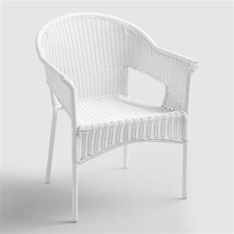 stackable white wicker chairs white all weather wicker stacking tub chairs set of 2