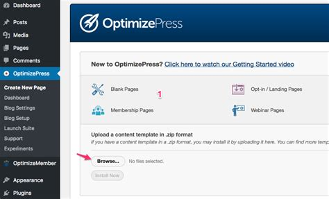 how to install a content template optimizepress support
