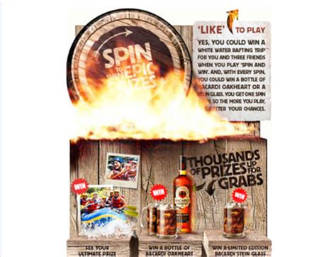 Spin To Win Sweepstakes - play the bacardi oakheart spin to win game for thousands of prizes