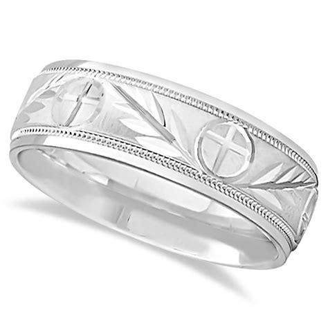 mens christian leaf  cross wedding band  white gold