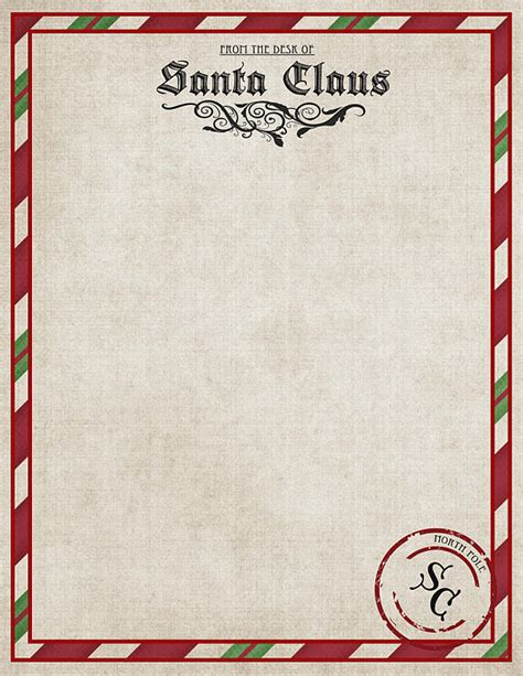 Official Pole Letterhead Free Printable Santa Claus Envelopes New Calendar Template Site