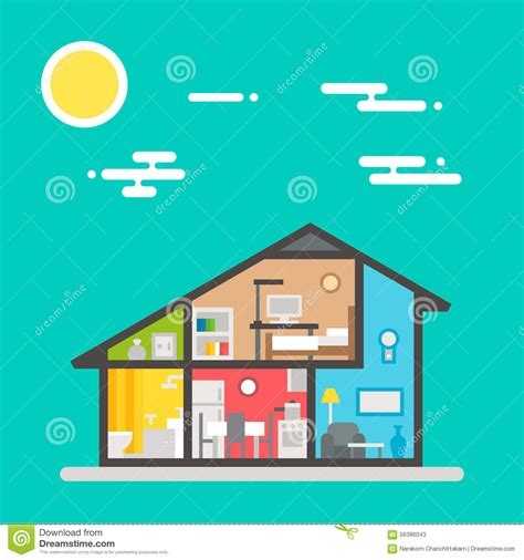 flat house interior design flat design of house interior stock vector image 56386043