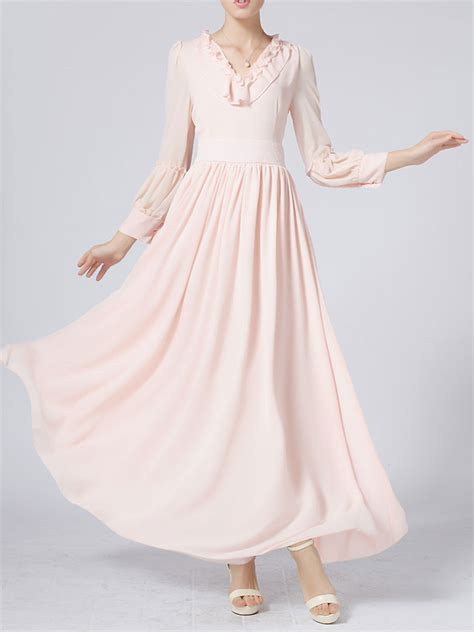Sleeve Chiffon Dress cheap sale graceful pink sleeves chiffon maxi dress