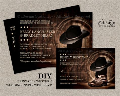 Western Theme Wedding Invitations by Country Western Wedding Invitation Set With Cowboy Boots Diy
