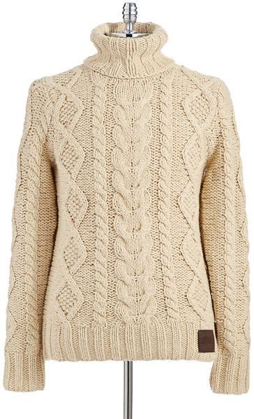 cable knit turtleneck sweater pattern superdry turtleneck cable knit sweater in beige for men lyst
