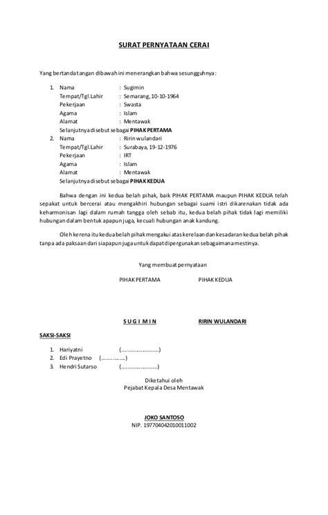 contoh format jawaban gugatan cerai contoh surat pernyataan cerai ghoib