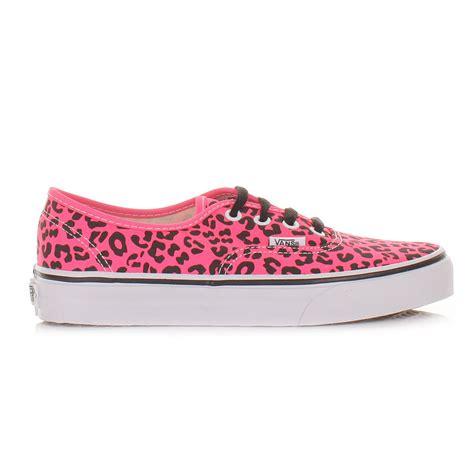 womens vans authentic neon leopard pink black shoes