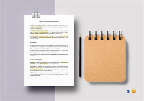 general manager contract template general manager employment contract template in word