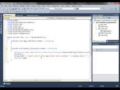 ASP NET 4 0 Login Website Part 4 Login Page Its Script ... Login Asp