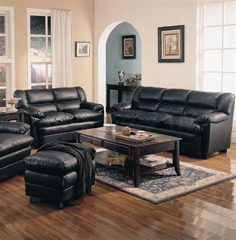 harper leather living room set in brown sofas harper overstuffed black leather 2 pcs living room set