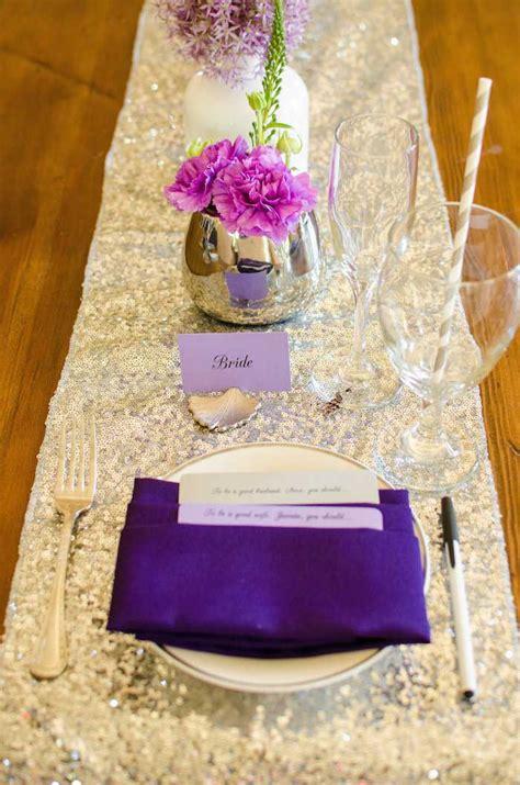 purple  silver bridal shower ideas themes