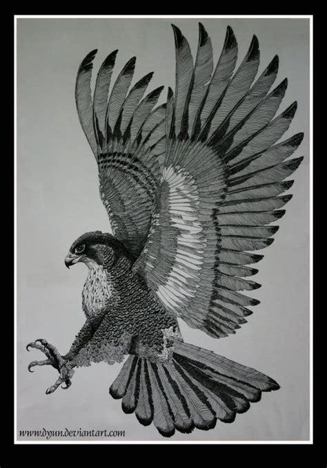 black and grey hawk tattoo black and grey flying hawk tattoo design