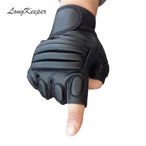 1 6 Bendable Glove longkeeper mens black gloves fingerless leather glove army gloves for tactical