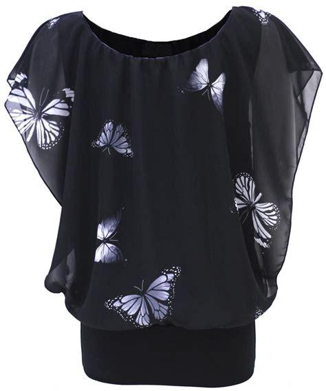 Butterfly Blouse Stripe Top womens butterfly print chiffon oversized top shirt