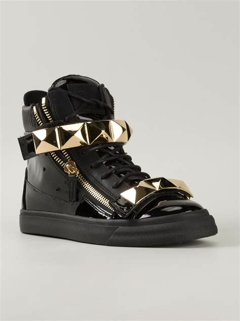 black and gold mens sneakers giuseppe zanotti gold detail high top sneakers in black