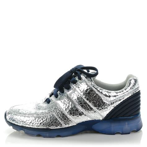 chanel sneakers chanel metallic crackled calfskin cc sneakers 42 silver