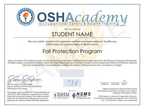 Oshacademy Free Online Occupational Safety And Health Training Course 714 Fall Protection Program Fall Protection Certificate Template