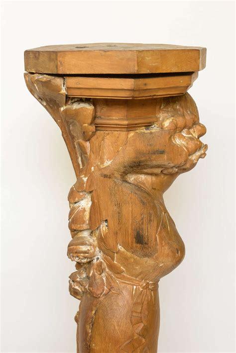 Sculpture Pedestal Nouveau Carved Wood Figural Pedestal Or Sculpture At