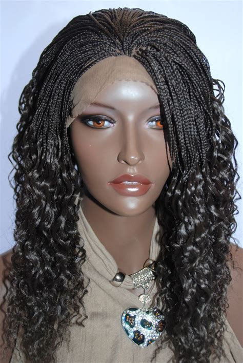 lace front african mirco braided wigs braided lace front wig micro braids color 4 in 16 inches