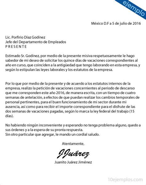 carta formal de vacaciones ejemplos de carta para solicitar vacaciones