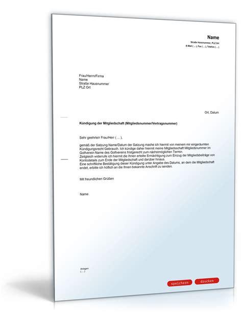Brief An Krankenkasse Wegen Kosten Bernahme k 252 ndigung mitgliedschaft golfverein musterbrief zum