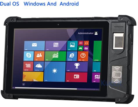 dual window android rugged tablet pc dual os window 10 android fingerprint reader scanner waterproof phone 3g gps
