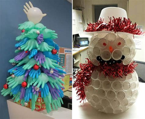 rubber glove christmas tree hospital staff get creative at daily