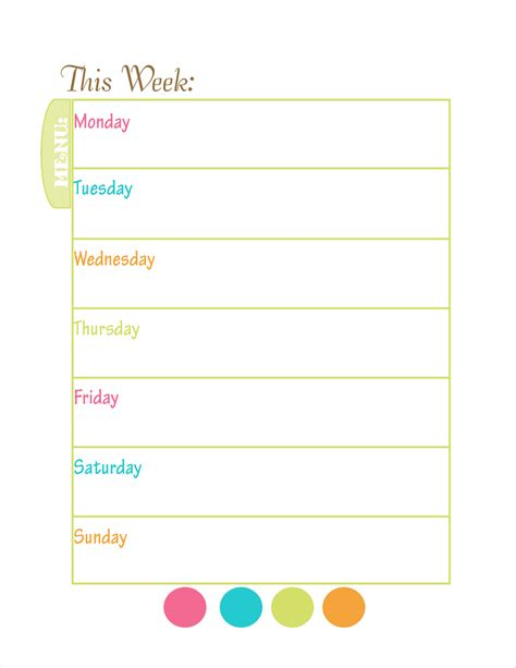 printable menu template free menu planning new calendar template site