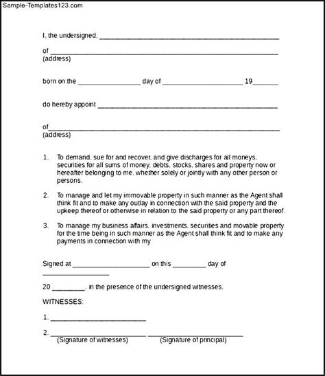 power of attorney free template power of attorney form sle sle templates