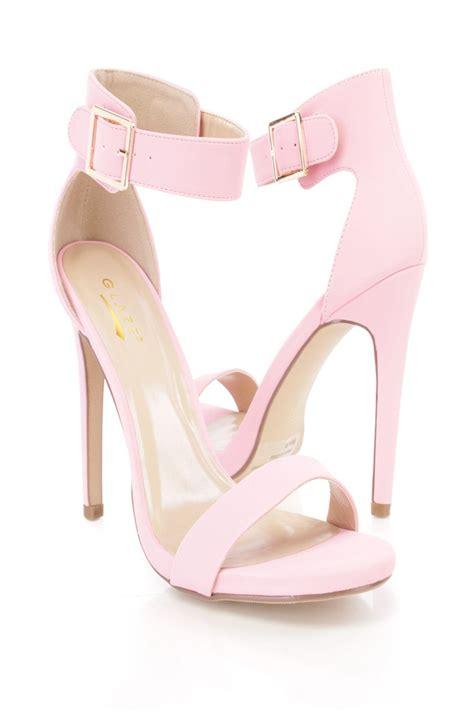 baby pink high heel shoes baby pink open toe ankle single sole heels nubuck