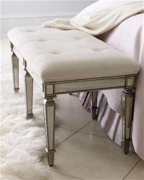 Benches For Bedroom Quot Denison Quot Mirrored Bench Traditional Upholstered