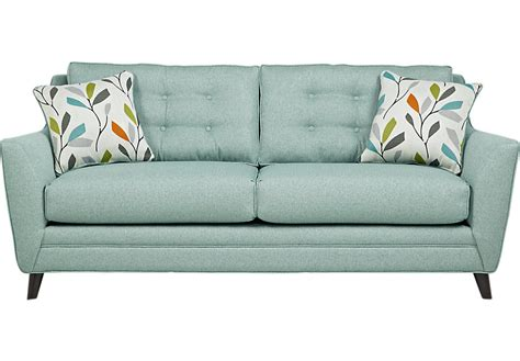 rooms to go chairs cobble heights teal sofa sofas green