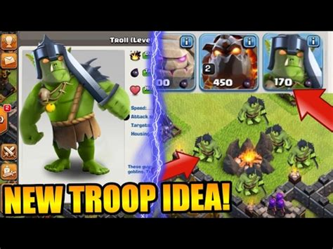 clash of clans troop upgrade brand new troop concept idea quot the troll quot in clash of