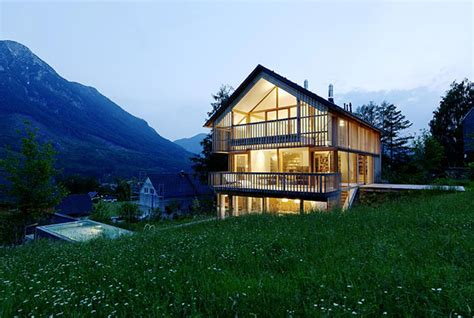 Wood And Glass Mountain House With Trio Of Terraces Design A Mountain House