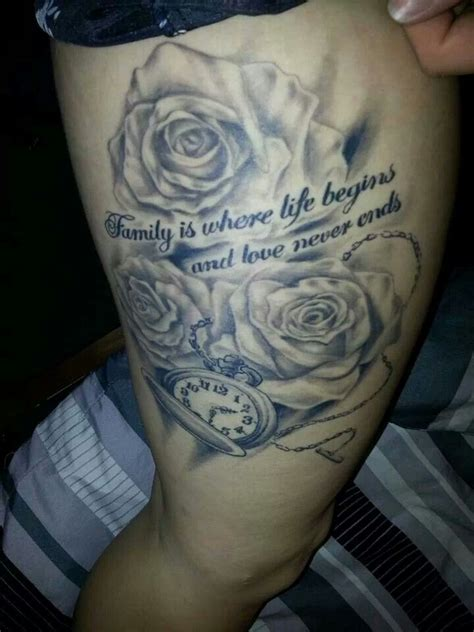 family rose tattoo family with roses and timepiece black grey