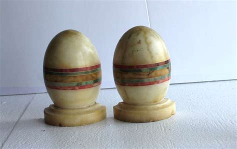 Egg Shaped L by Early Italian Marble Oval Egg Shaped Bookends At 1stdibs
