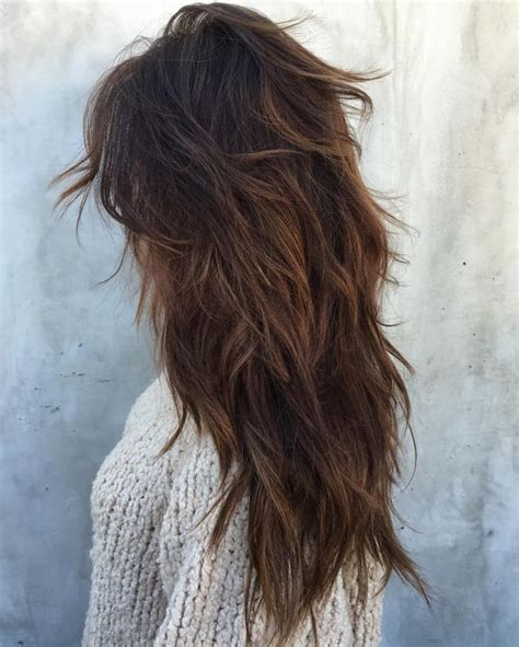 hair cut feathered ends picture of messy layers on ombre dark hair look chic