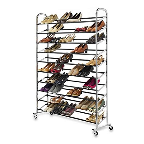 shoo rack bathroom 60 pair rolling shoe rack in chrome bed bath beyond