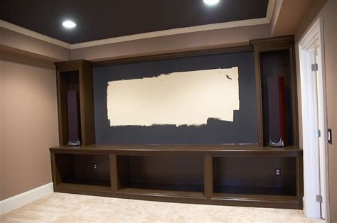home theater screen wall design media shelves projection wall lighting to modify our