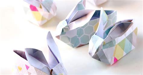 Origami Bunny Basket - diy origami easter bunny baskets gathering