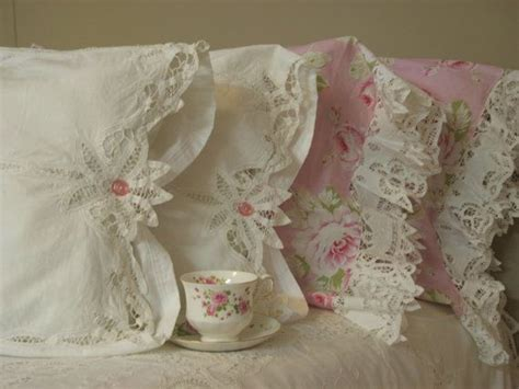 shabby chic rose pillow cases one of a kind