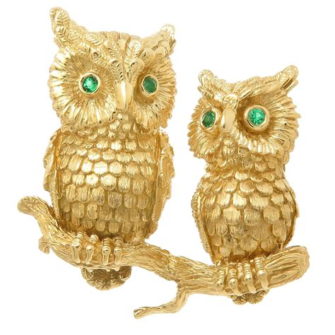Owl Gold pin gold owl brooch on