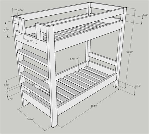 Dimensions Of A Bunk Bed Woodwork Bunk Bed Dimensions Plans Pdf Plans