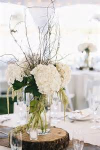 Hanging Glass Vase Long Rstic White Hydrangea And Tree Stump Wedding Centerpiece
