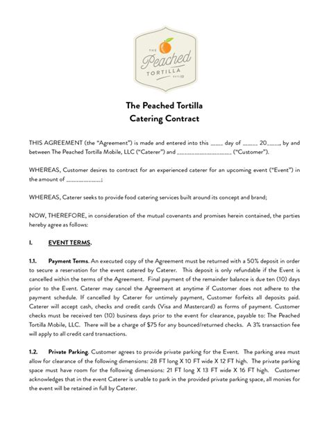 contract for catering services template catering contract template 6 free templates in pdf word