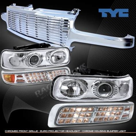 chevy silverado 1999 2002 chrome billet grille and clear projector headlights set a1015nub213