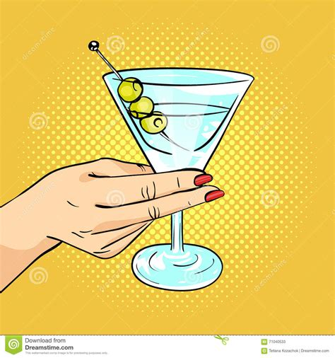 holding martini vector pop illustration of